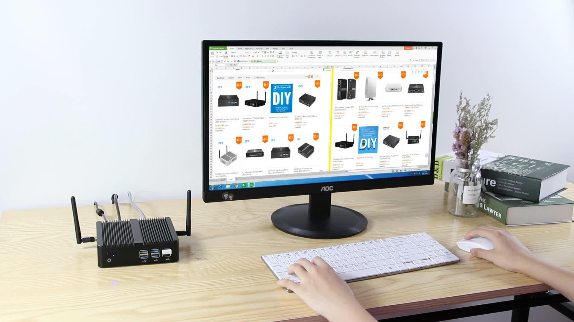 Mini desktop Win10 Intel 3955U 3965U 4405U 2.10 GHz VGA HD 4*USB3.0 2*USB 2.0 WIFI Mini Desktop PC Nettop HTPC Fanless mini pc