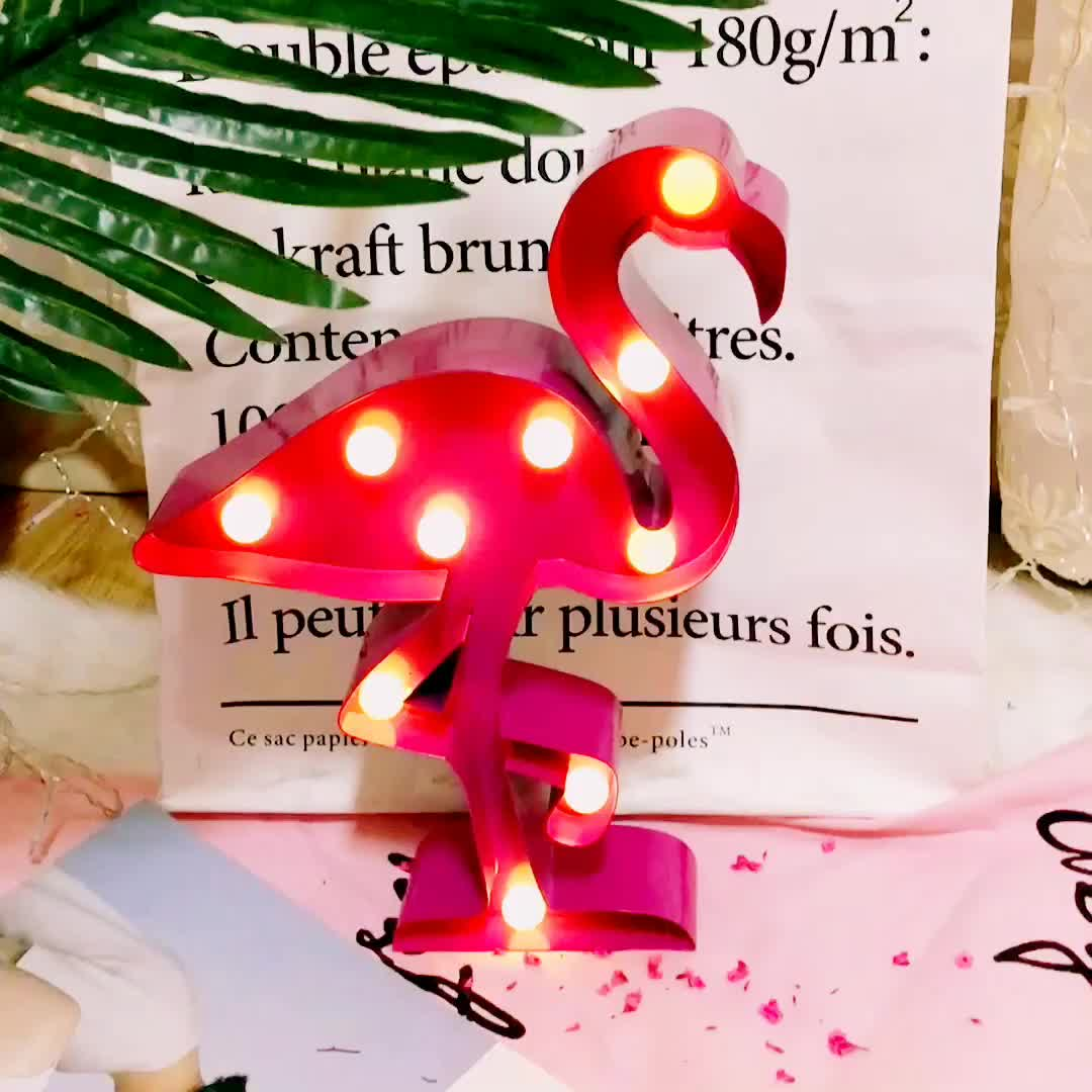 Flamingo LED night metal lamp for Birthday Party Valentine Gift,Kids' Room Decorations