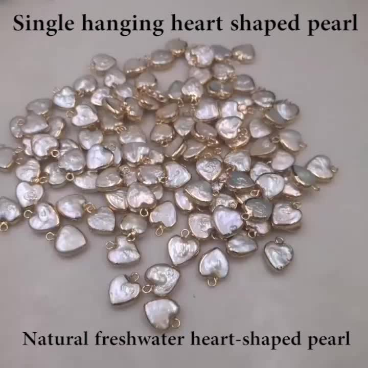 DIY jewelry natural pearl heart necklace bracelet pendant baroque shaped heart pearl accessories