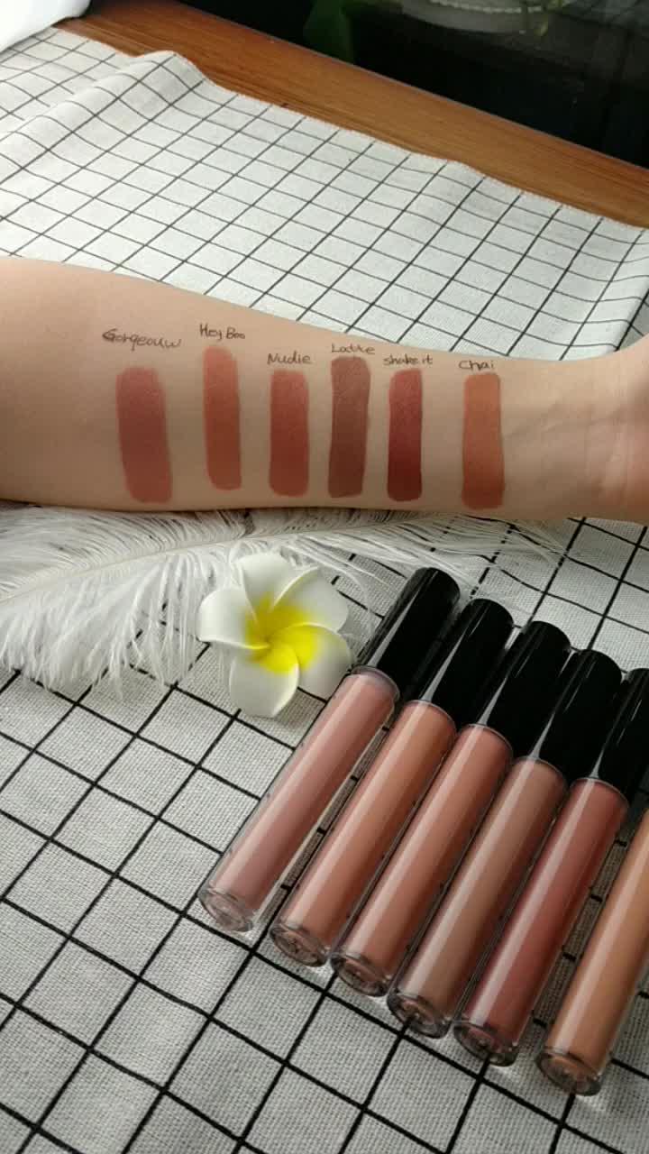 Hohe qualität vegan Großhandel Custom nude flüssigkeit lippenstift Shiny Mode 6 Farben Private Label Nude Glossy matt flüssigen lippenstift