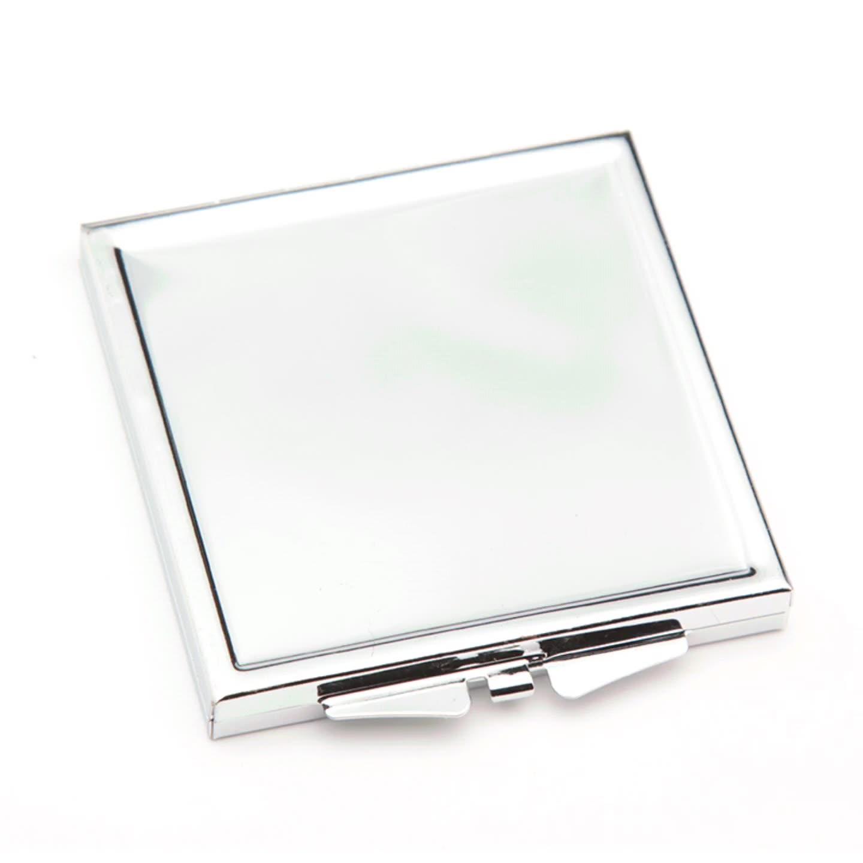 ורוד קטן קומפקטי ריק במראה מתכת קומפקטי מראה מותאם אישית הדפסת כיס מראה DIY לוגו