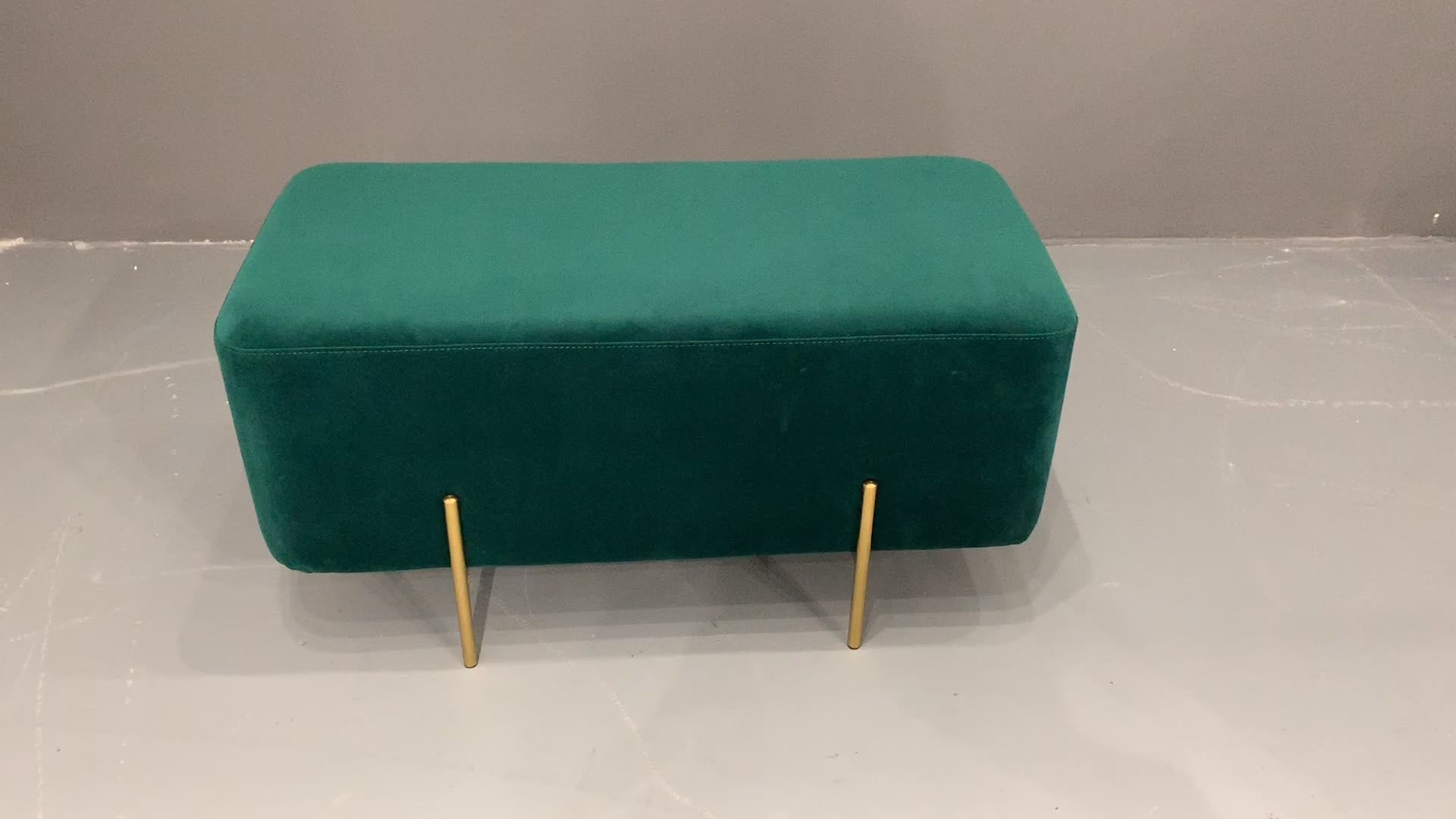 Modern Fabric Velvet Rectangle Footstool with Luxury Golden Base Ottoman Hotel Home Living Bed Room