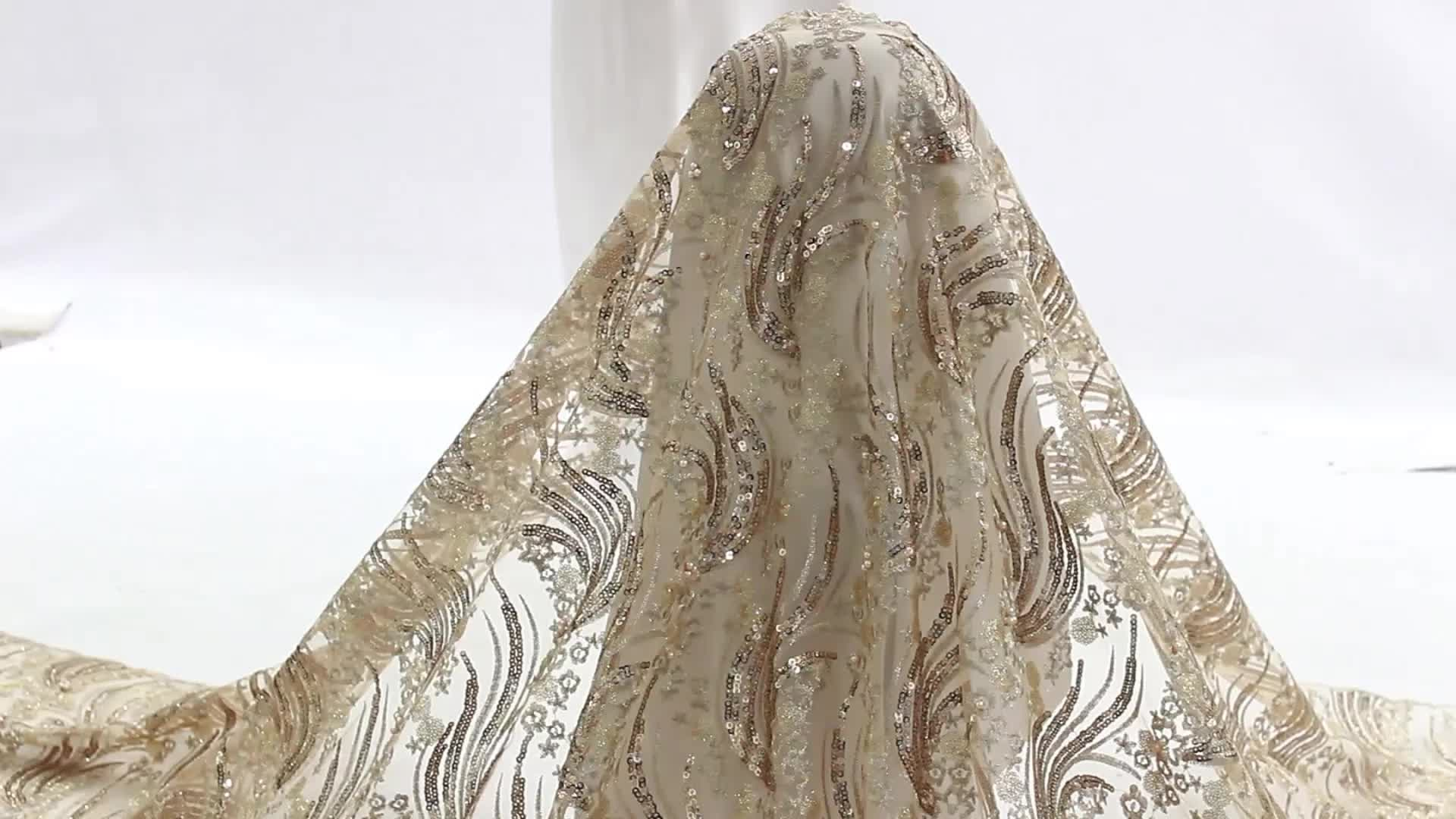 Bestway Luxury Gold Beaded French Tulle Net Sequin Embroidery African Lace Fabric