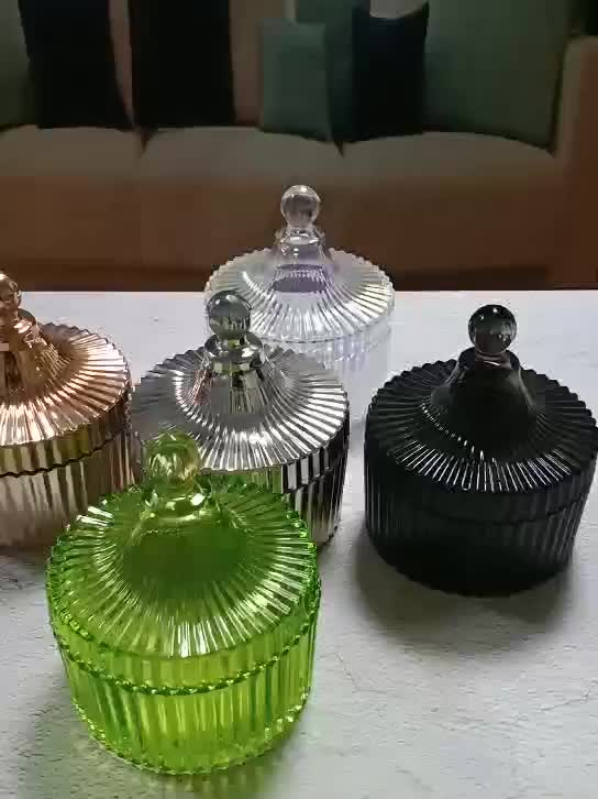 Wholesale black glass  candle jars at low prices with glass lid
