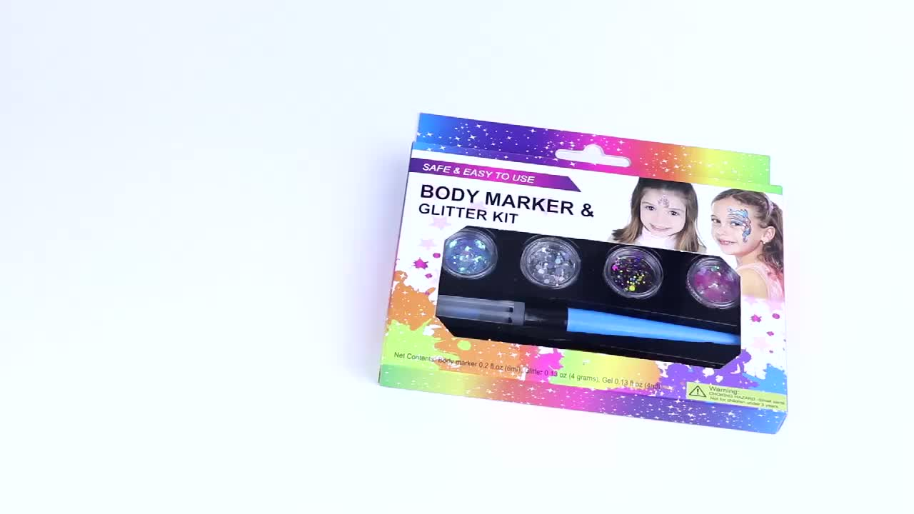 Popular Model Non Toxic Body Art Painting Face Makeup Glitter Tattoo Kit for Children