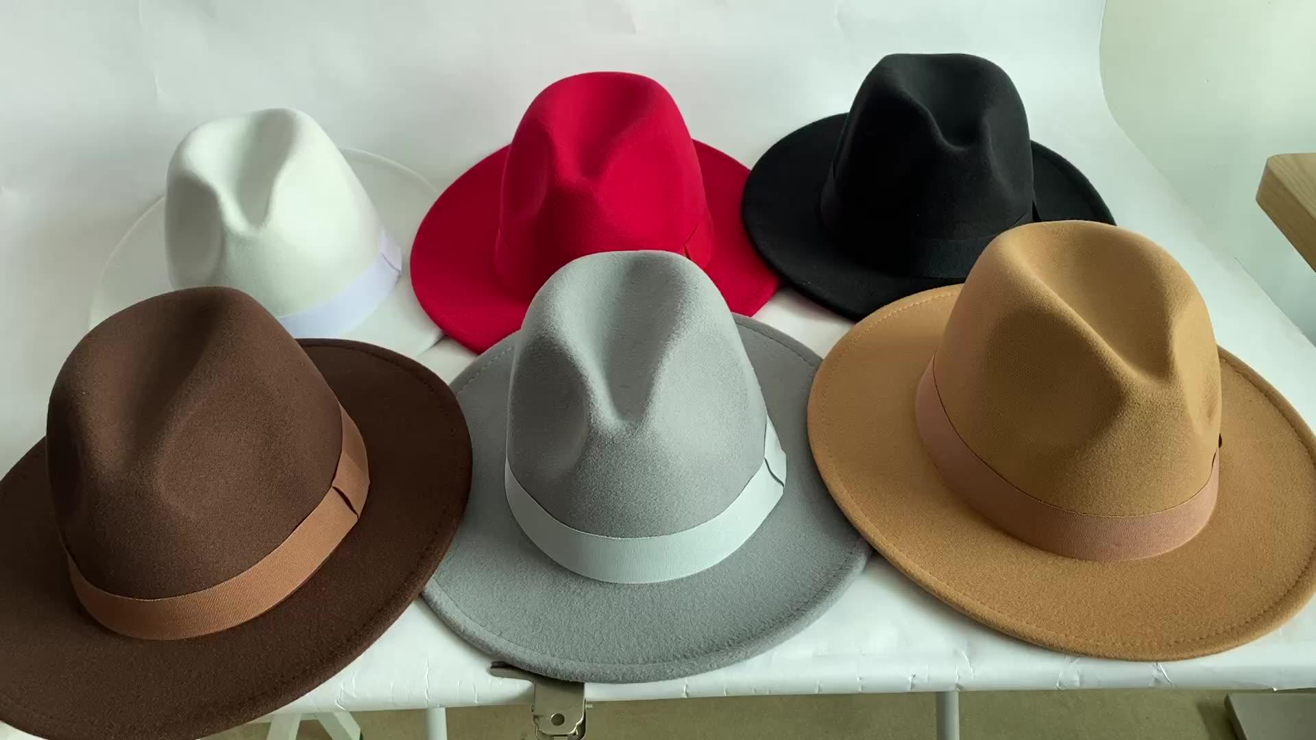 2021 New Fashion 18 Color In Stock Panama Hats Unisex 100% Wool Felt Wide Brim Fedora Hat Wholesale