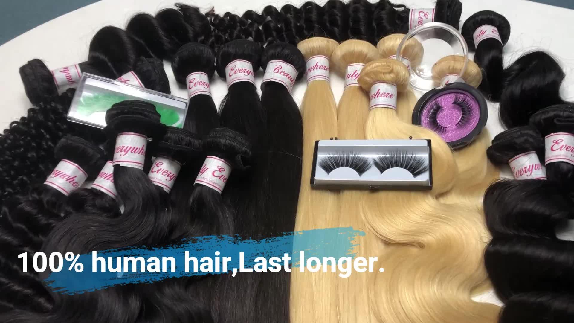 Xbl Goedkope Groothandel Maagd Haarverlenging, Gratis Wimpers Gratis Monster Cuticula Uitgelijnd Raw Virgin Haar, 100% Braziliaanse Bundels