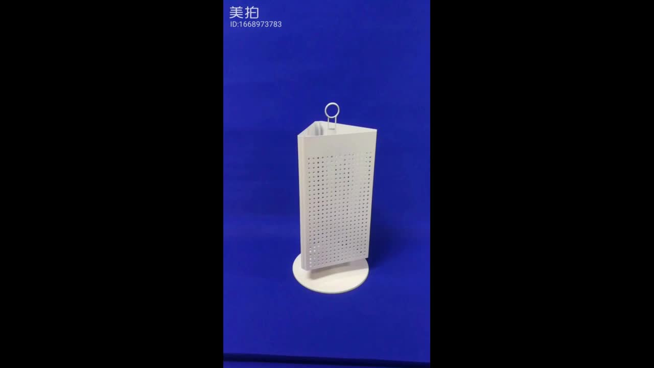 table standing store promotion 3 sided metal pegboard fixture rotating novelty counter display rack for key rings