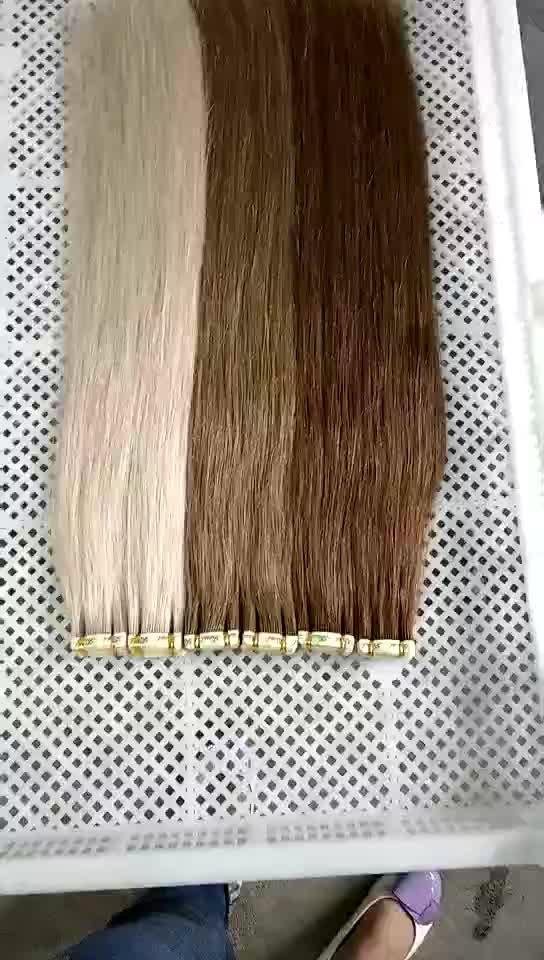 2018 wholesale cheap top quality double drawn blonde color Russian remy tape in human hair extension for women