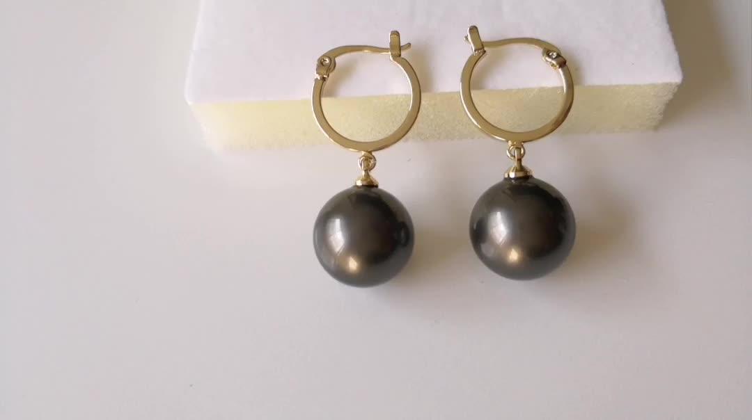 Indian Graceful Filigree 18k Gold Plated Jewelry Single Big Pearl Pendant Earrings Hinged Hoop Earrings