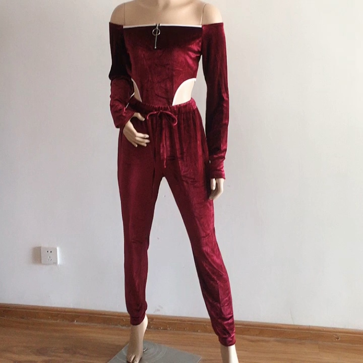 Sexy Velvet V Neck Women Matching Set Full Sleeve Athleisure Two Piece Outfits Hot Bodysuit And Pants Set