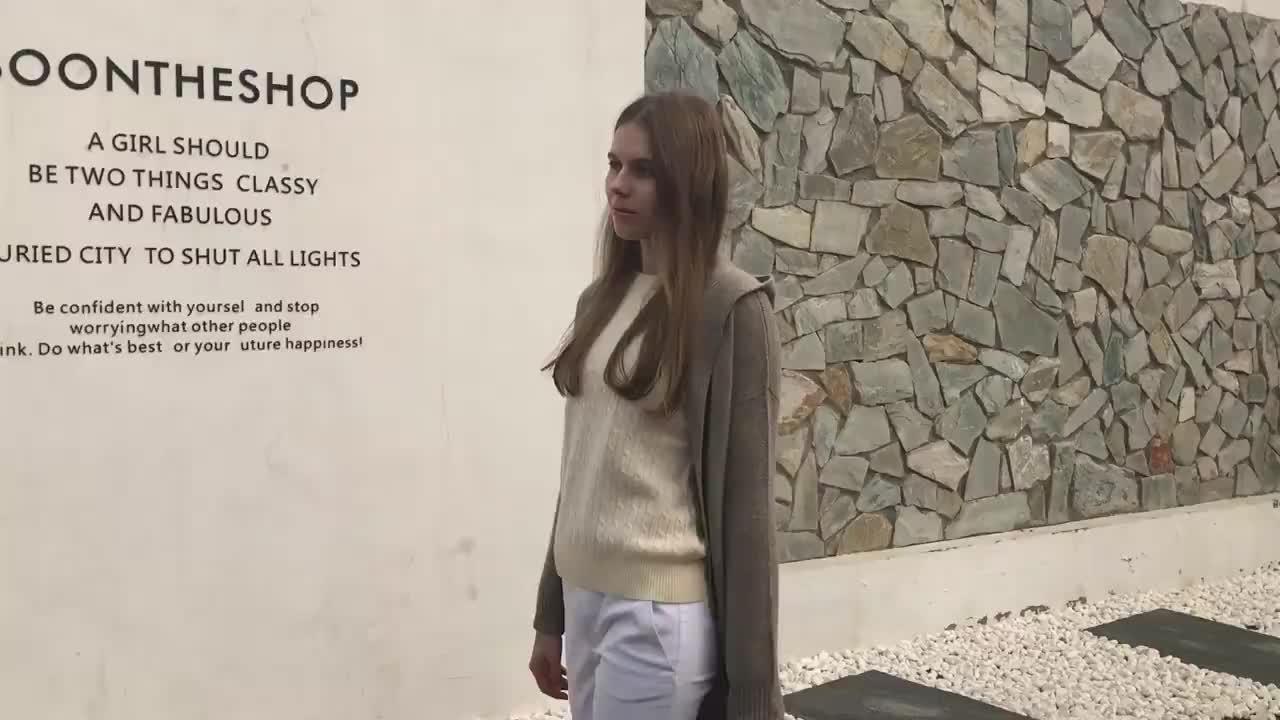 Kasjmier hooded lange vest breien vest met een kap voor dames