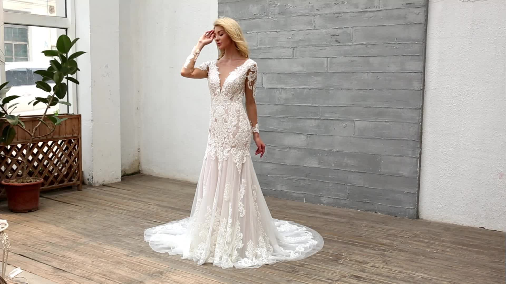 Mermaid wedding dress 2019 china factory high quality v neck long sleeves backless beading lace applique trumpet bridal gown