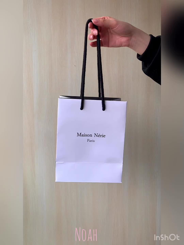 Design personalizado de Qualidade Branco saco de Compras Saco de Embalagem de Presente de Papel com Alça de Algodão Corda