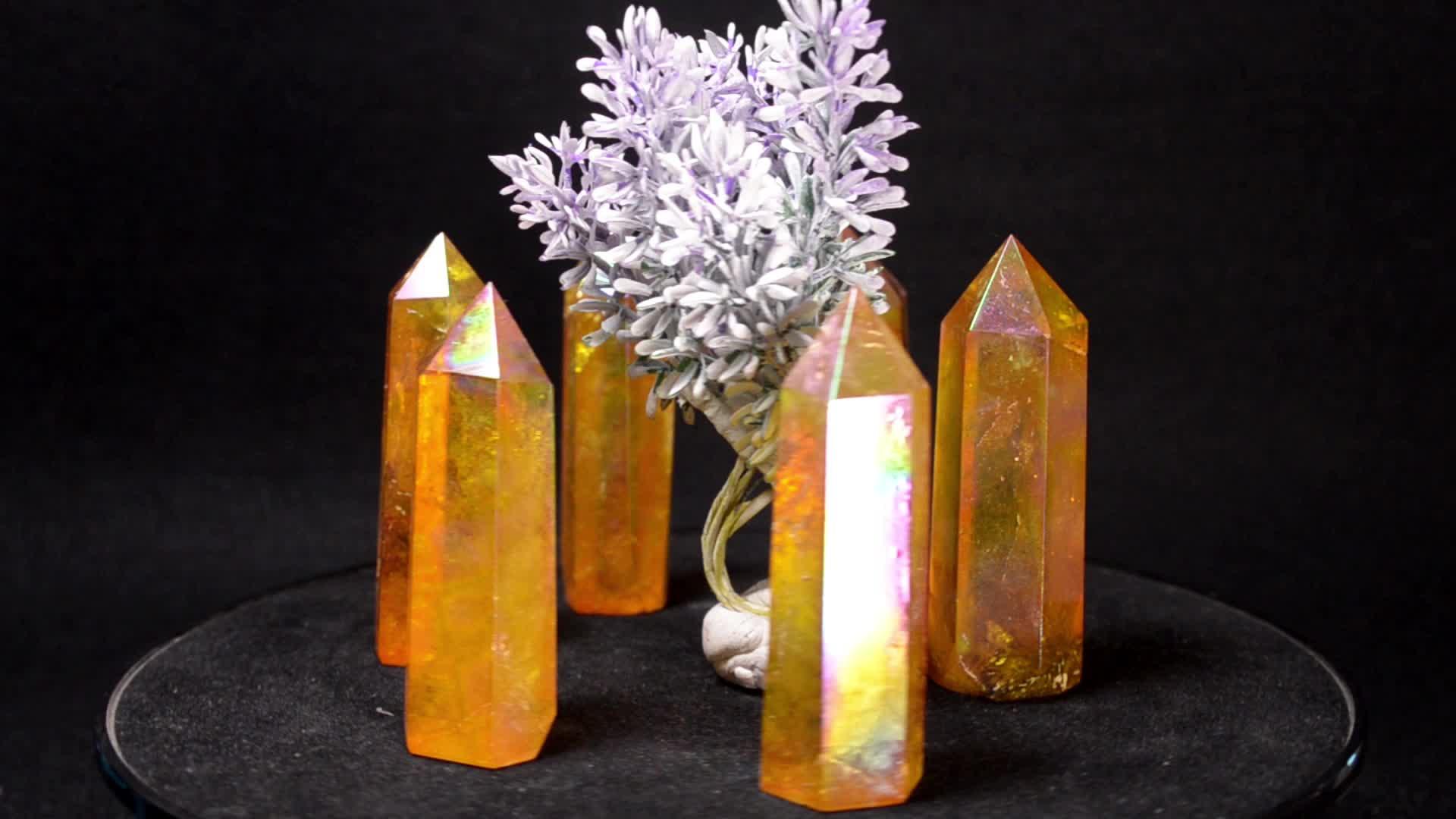 Bulk Sale Price Attractive Healing Home Decoration Yellow Aura Crystal Quartz Wand Tower Point