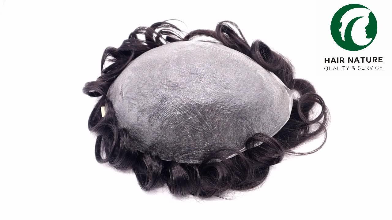 Super Dunne Huid 0.02-0.03Mm Alle Haar V-Lus Mannen Toupetje Haar Vervanging Vrouwen 'Pruik, 100% Human Indische Maagd Haar Toupet