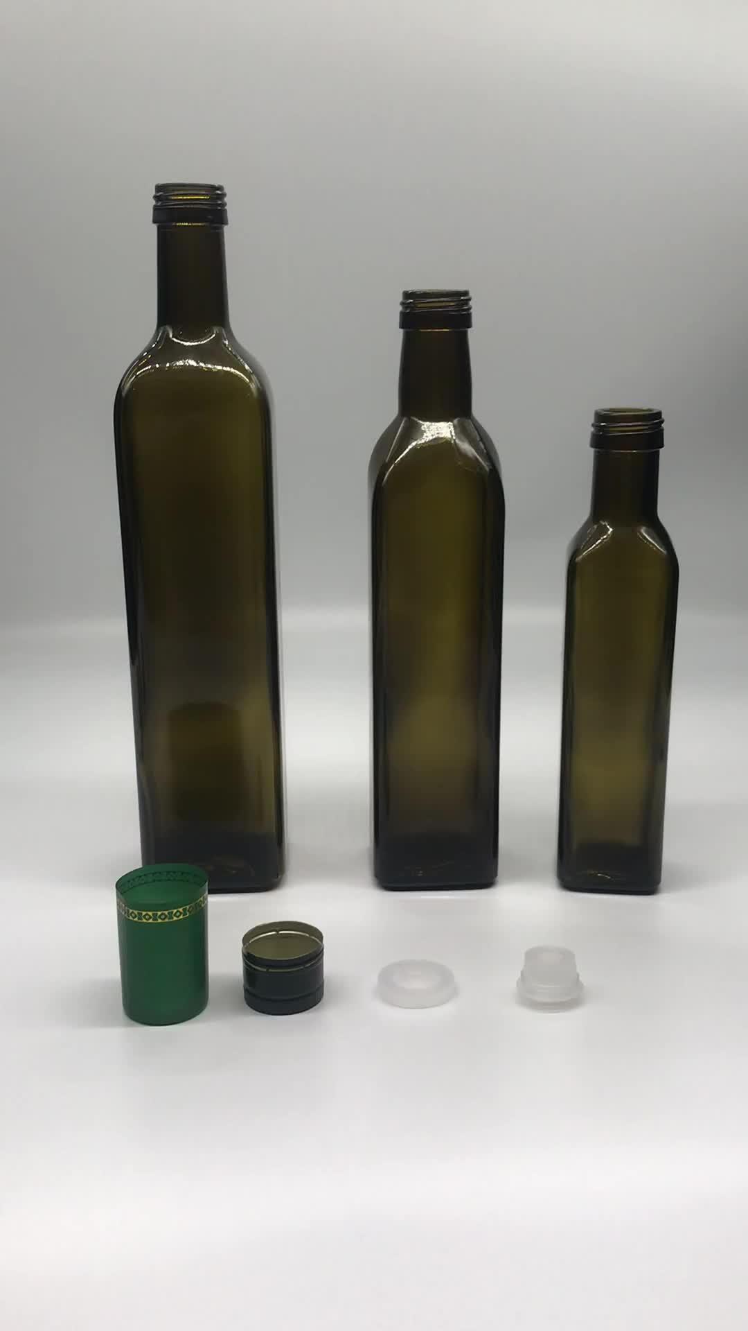 250 Ml Botol Persegi Quadra Antik Hijau Minyak Zaitun Botol Kaca