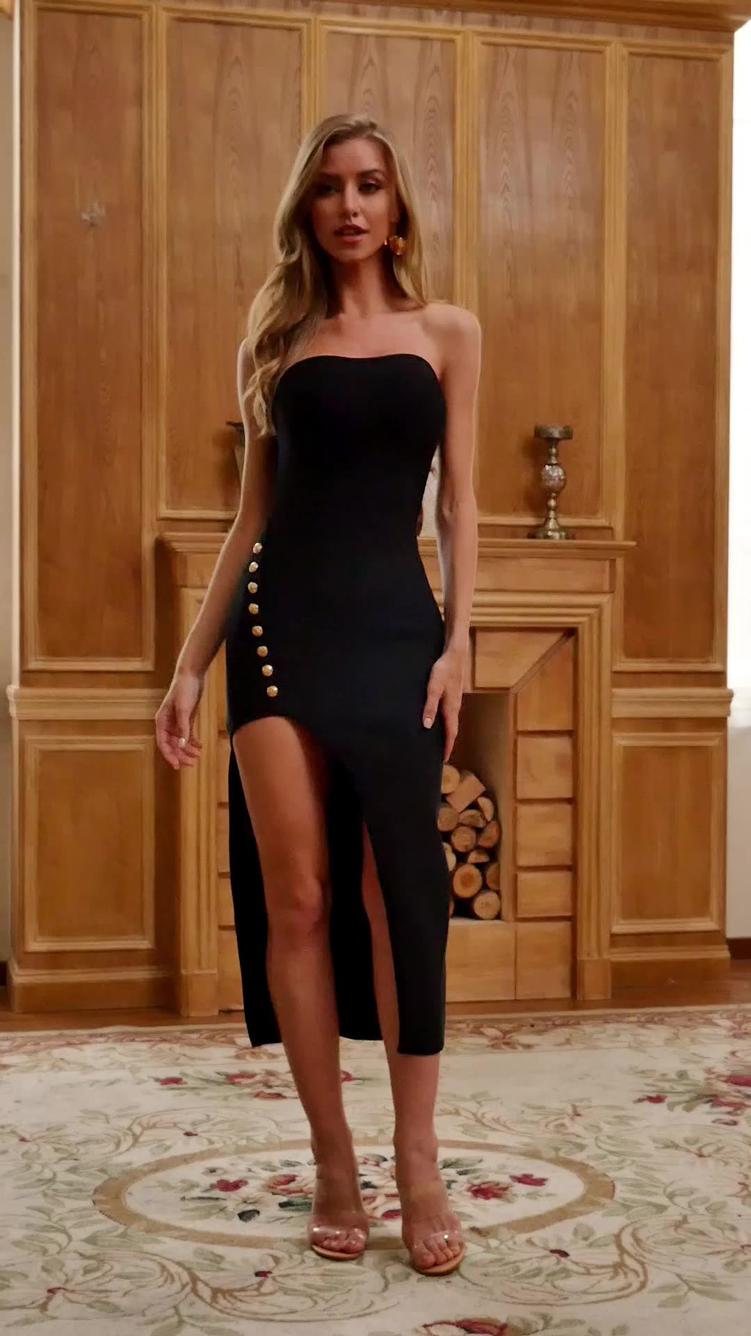 2020 Strapless Bandage Bodycon Dress Button Decoration Formal Evening Wear Long Party Gowns for Women