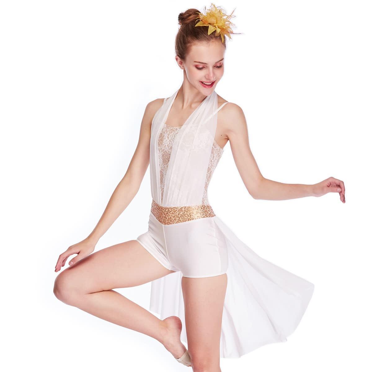 MiDee ハーフスカートホルターネック叙情的なダンスドレス衣装ジャズラテンアイススケートバレエダンス衣装