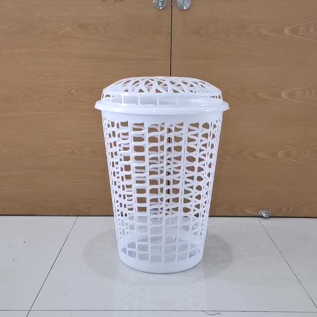 High quality plastic white laundry basket