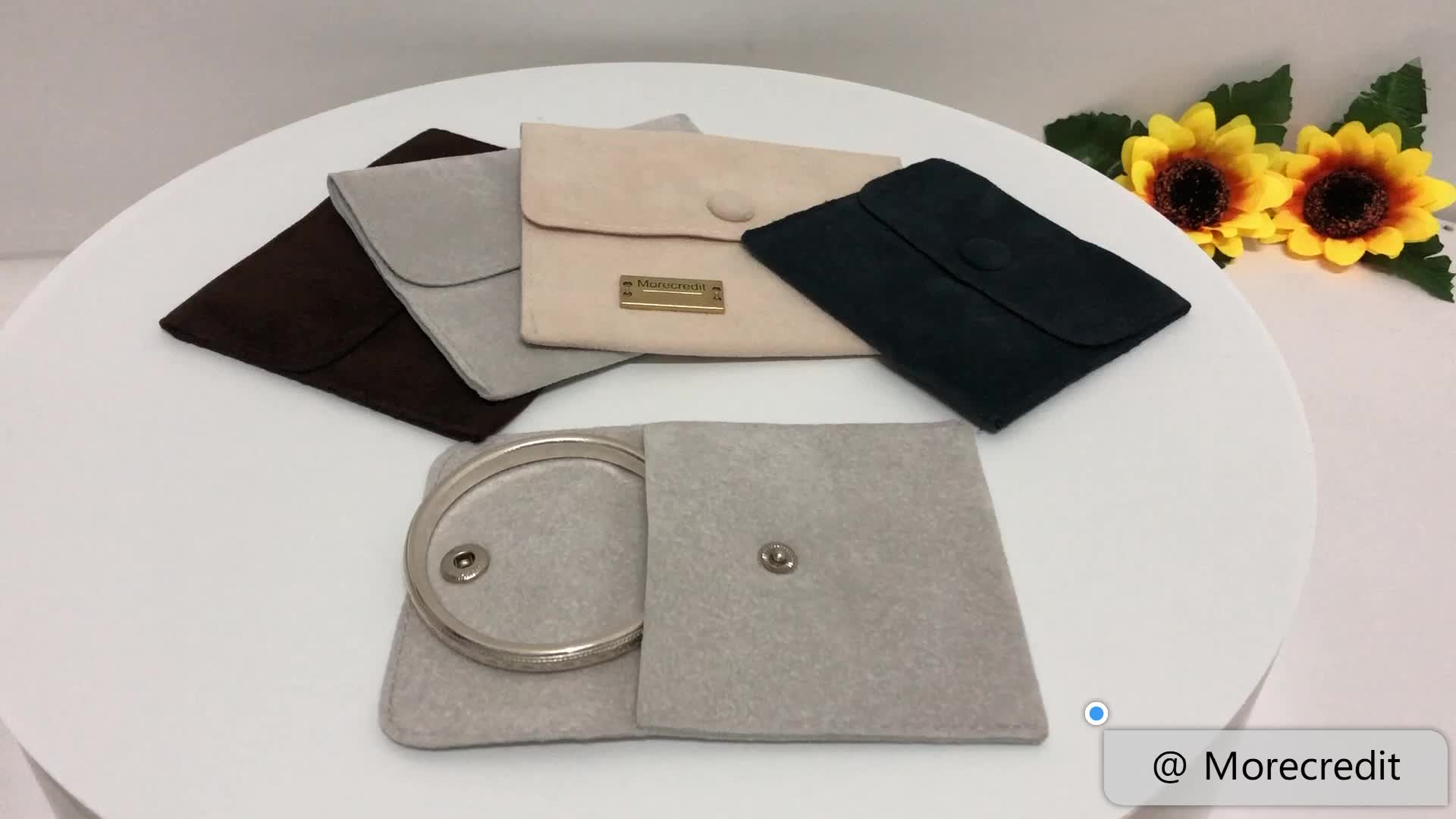 Hot-sale Suede Jewelry Pouch with Printed Logo for Purse Packaging