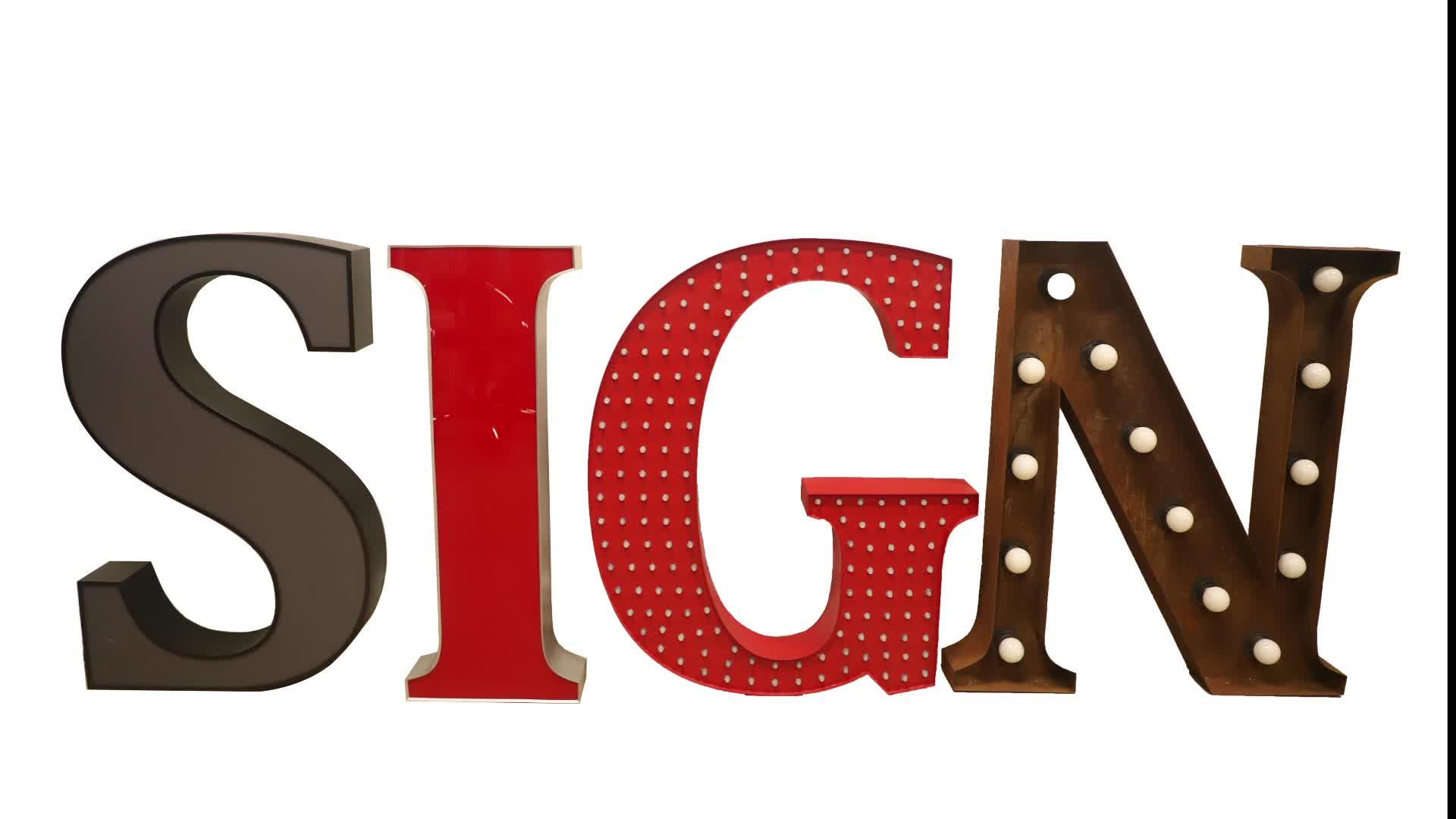 Di alta qualità pubblicità plug led lettera segno/led luci lettere