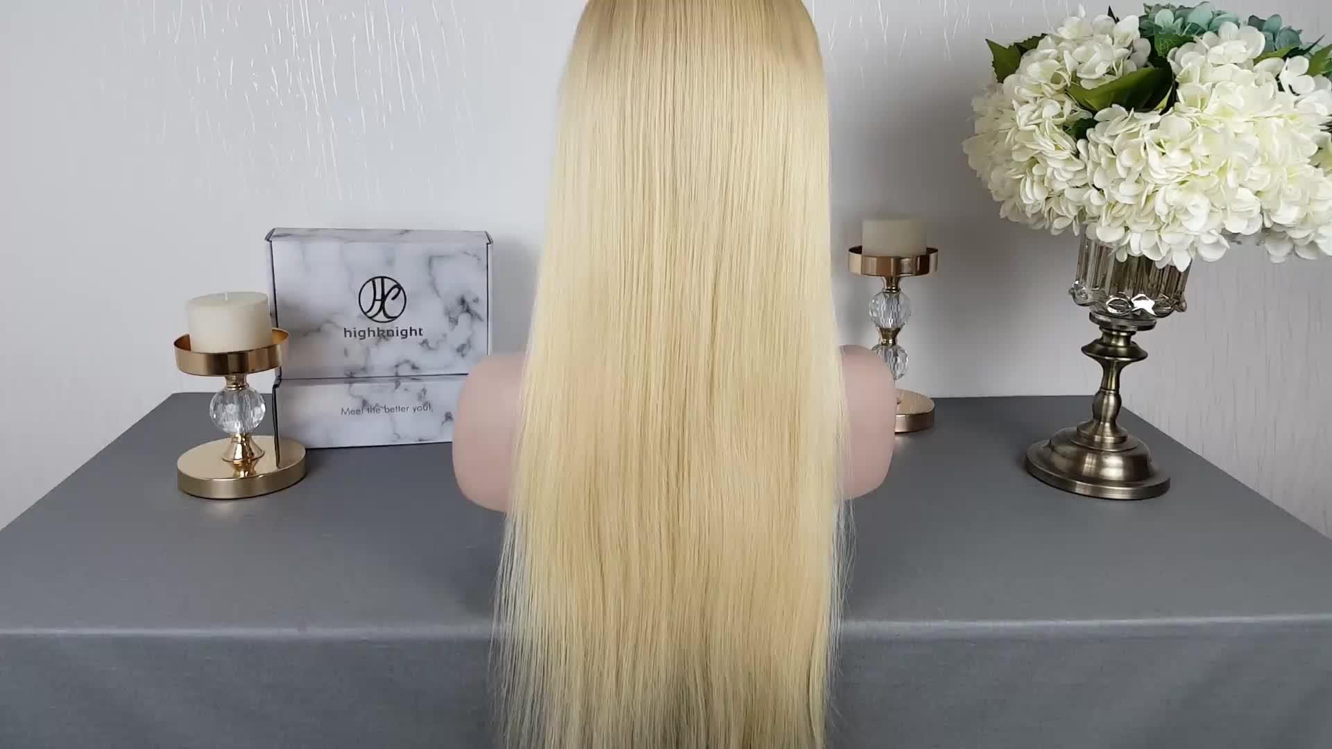 Highknight 100% Humain Vierge Cheveux 613 Blonde Cheveux Humains Pleine Perruque De Lacet Cheveux Bresiliens 613 Vierge Cheveux Dentelle Avant Perruque