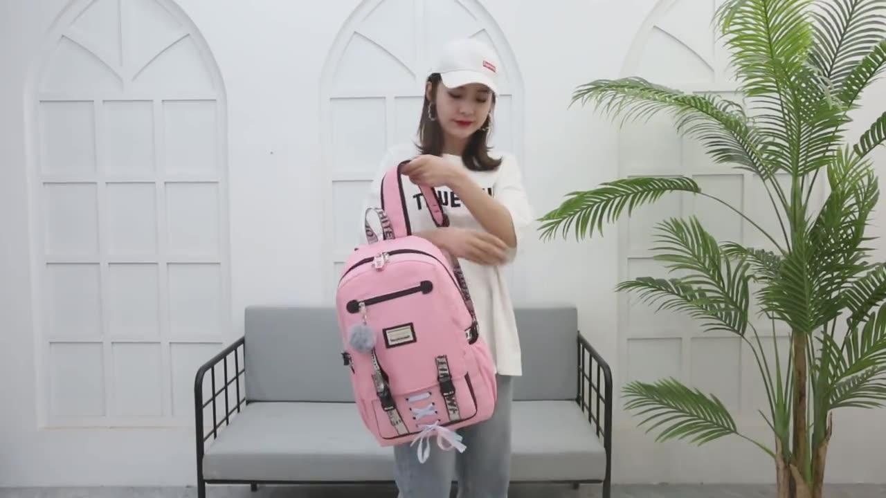 2020 trendy high quality custom logo small fashion women school bags girls with usb
