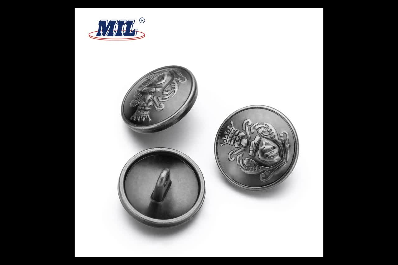 Custom made metal suit buttons with crown logo