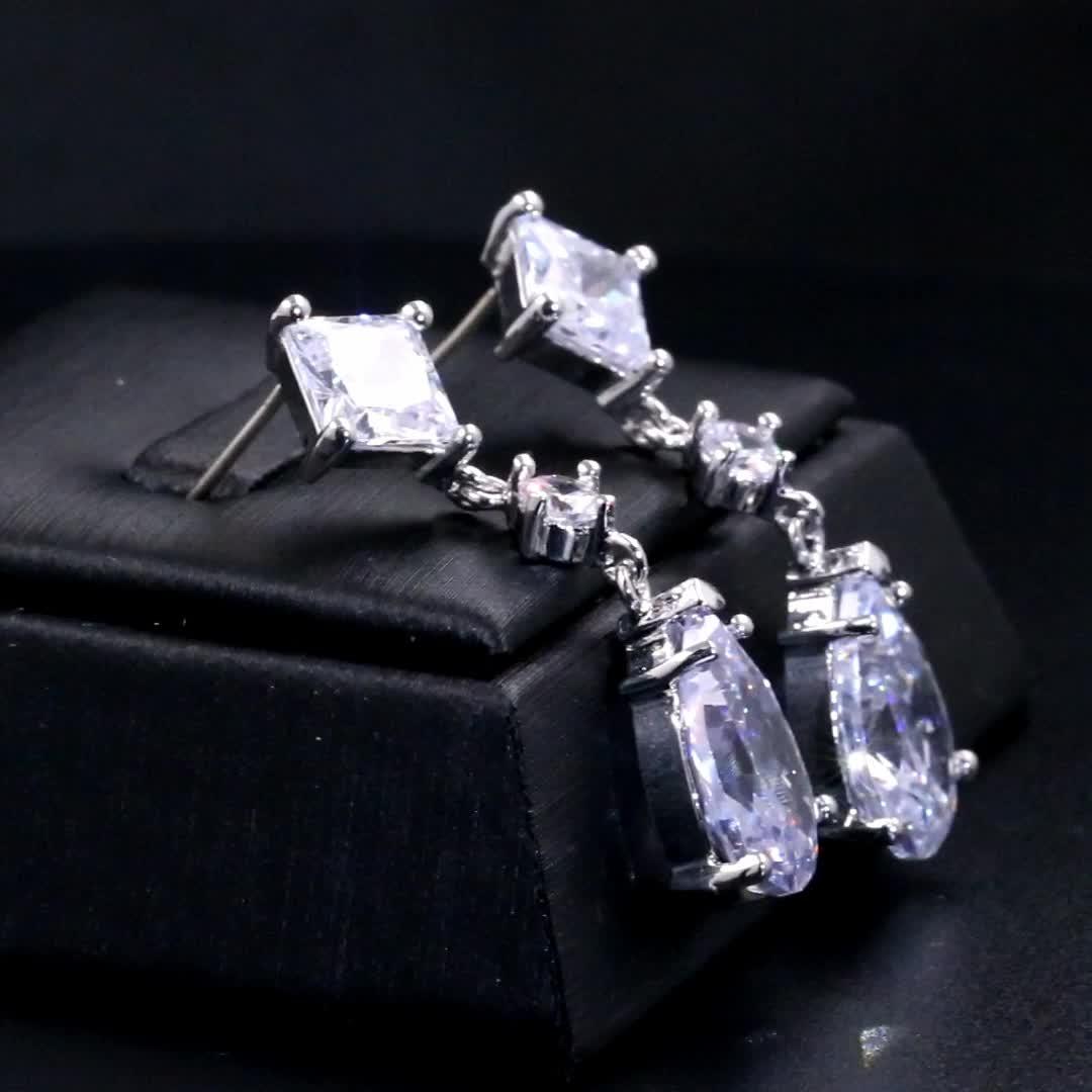 스파클 CZ Cubic 지르코니아 눈물 또 귀걸이랑 Luxury Bridal Jewelry Drop 매달려 웨딩 또 귀걸이랑