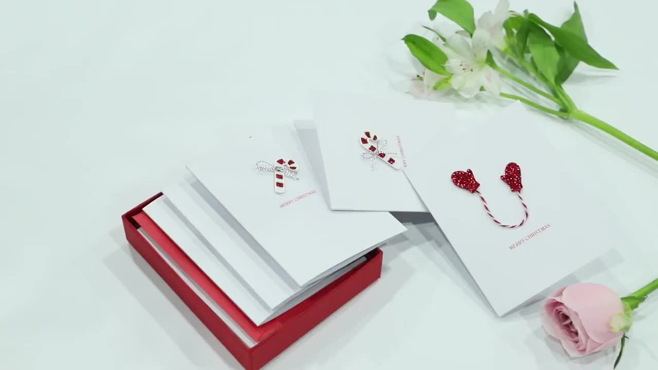Sweet Holiday Handmade Paper Cards, New Designed Boxed Warmest Christmas Greeting Cards