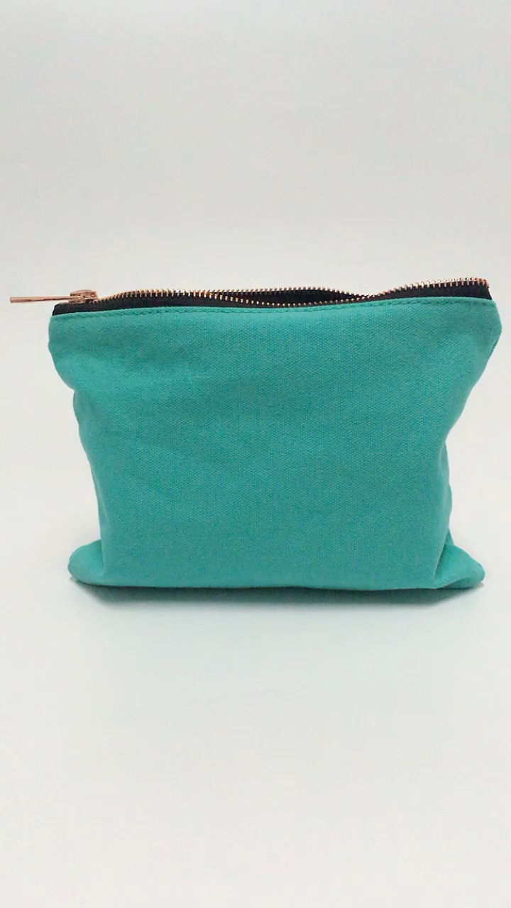 Fast delivery small makeup bag custom pouch cotton turquoise blank canvas cosmetic makeup bag with low MOQ