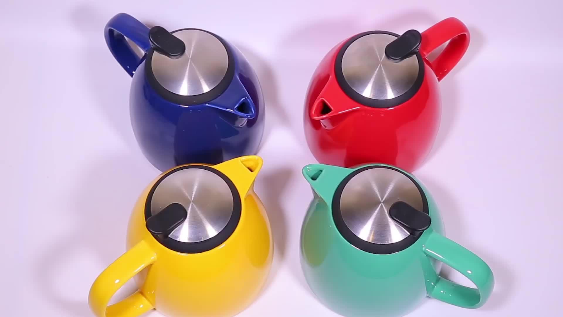กาน้ำชาเซรามิกขนาด 800 มล. ที่ออกแบบใหม่พร้อมฝา 304 SLS และ Infuser