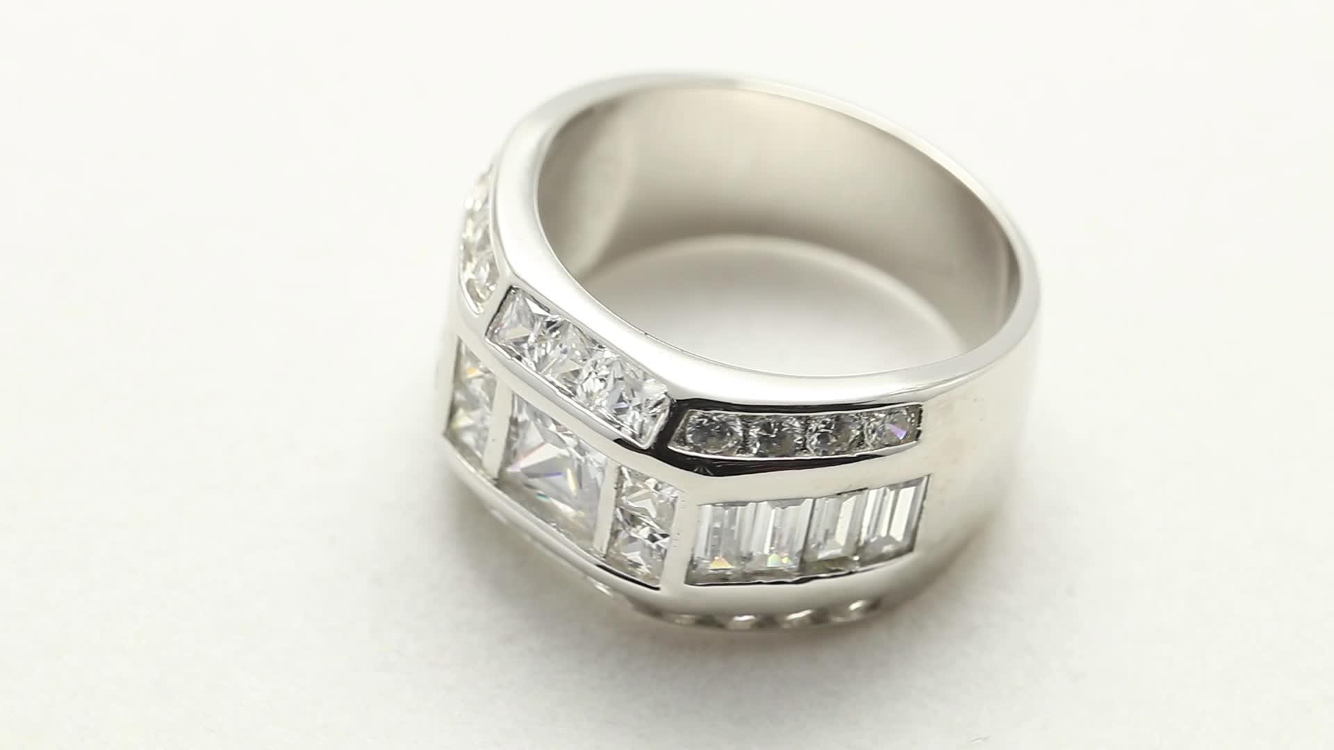925 sterling silver 와 듐 보석 custom men jewelry hip 홉 micro pave fashion 링 대 한 men