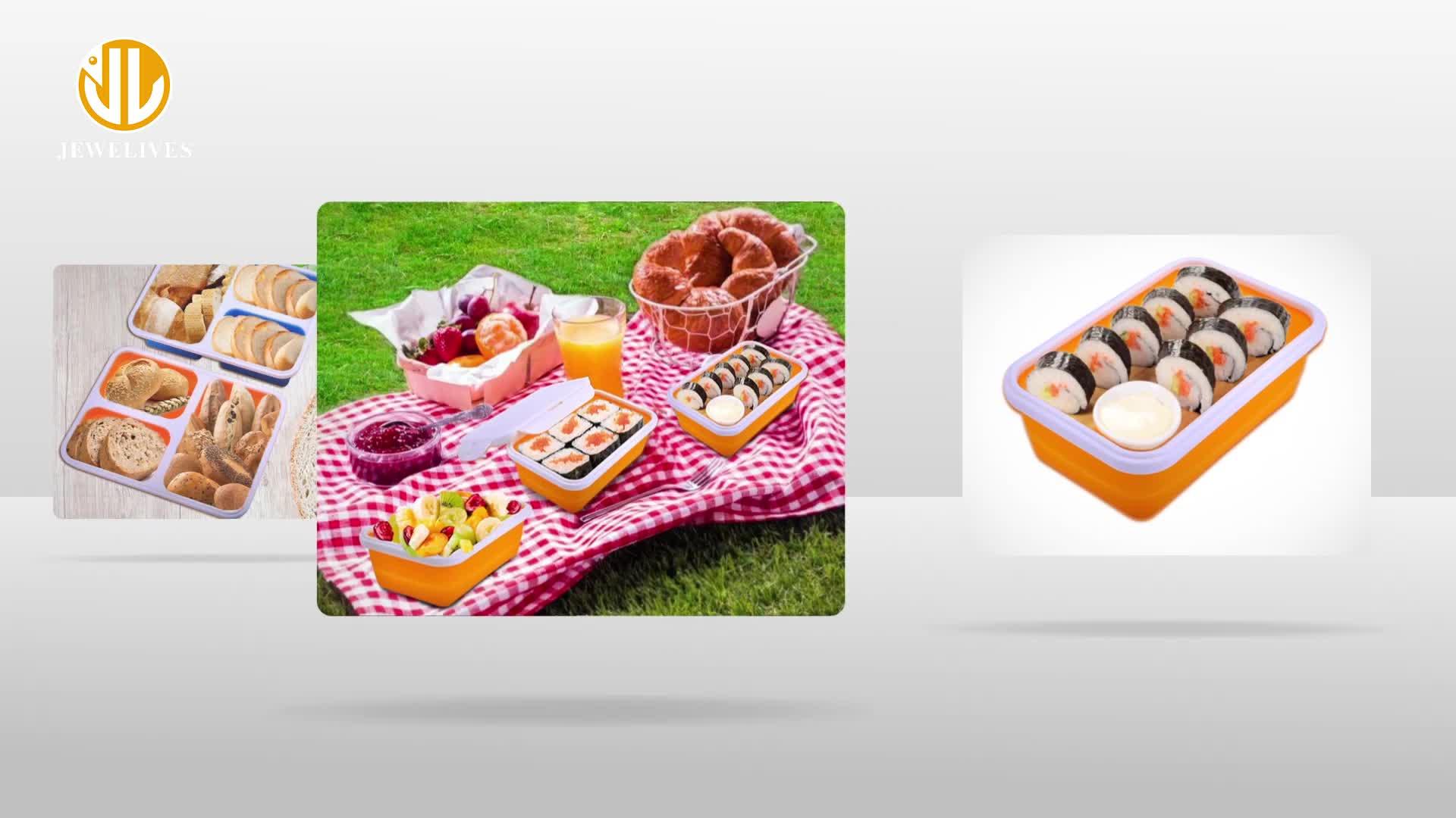 3 Compartiment Lekvrij Opvouwbare Inklapbare Custom Eco Siliconen School Kids Lunchbox