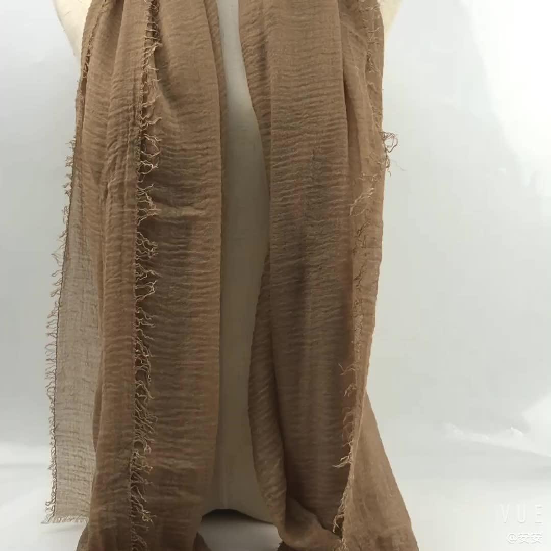 Confortevole Cotone Della Sciarpa Della Stampa del Logo Personalizzato Disponibili Pieghettato Hijab di Modo Delle Signore di Colore Musulmano Arabo Stole Velo Sciarpa