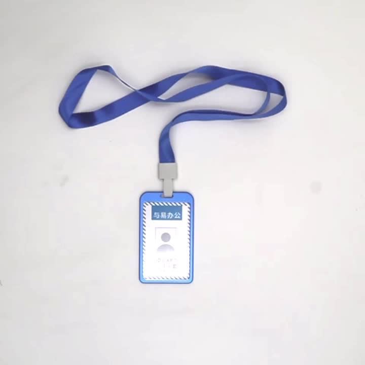 Clear fancy aluminium id card holder with lanyard