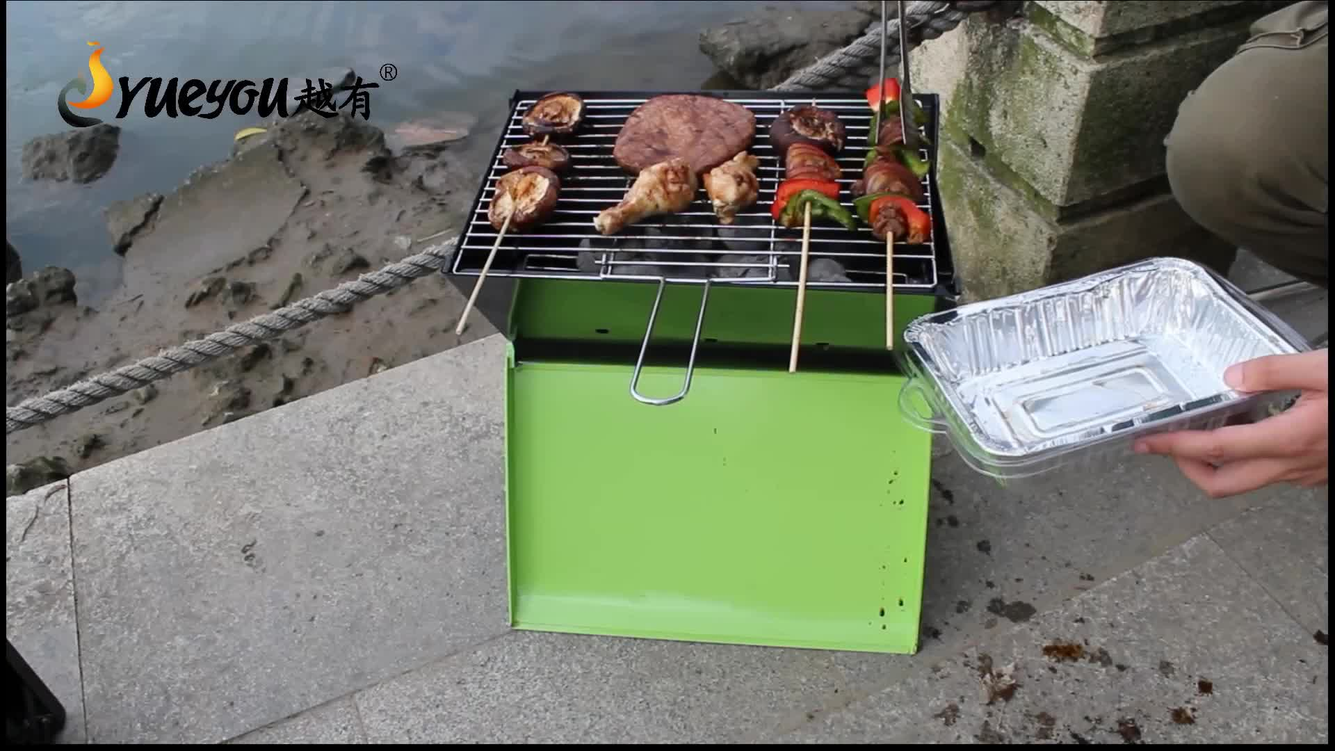 In Voorraad Opvouwbare Mini Draagbare Vouwen Camping Houtskool Barbecue Grill