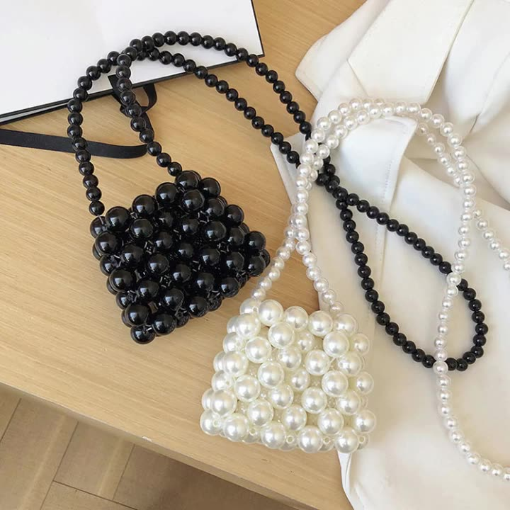 Qetesh Handmade Banquet Pearls Shoulder Crossbody Bag Women Handbags