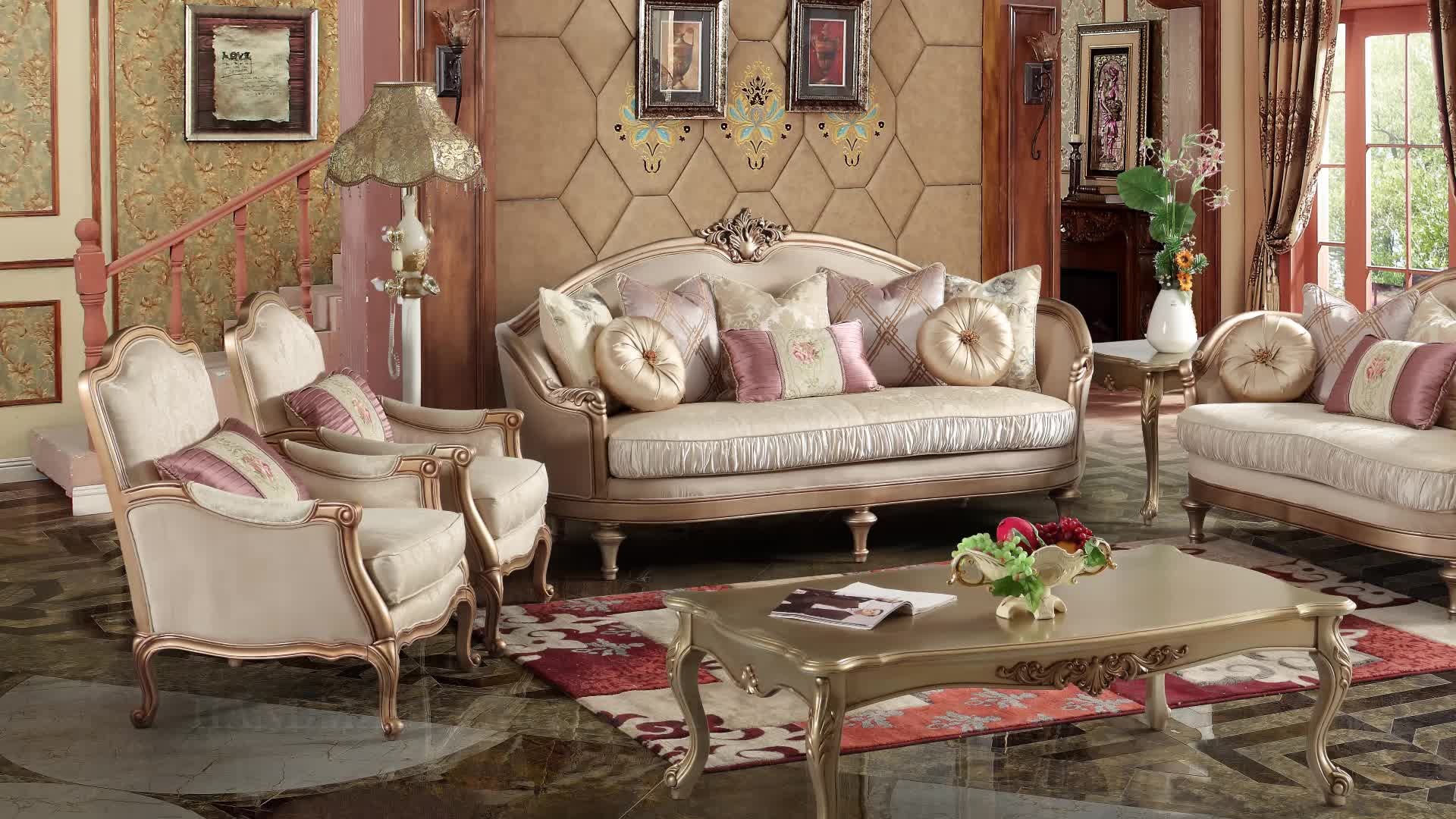 Best Selling Wholesale European Style Luxury Bedroom Set Furniture Fabric Solid Wood Sofa Set With Coffee Table