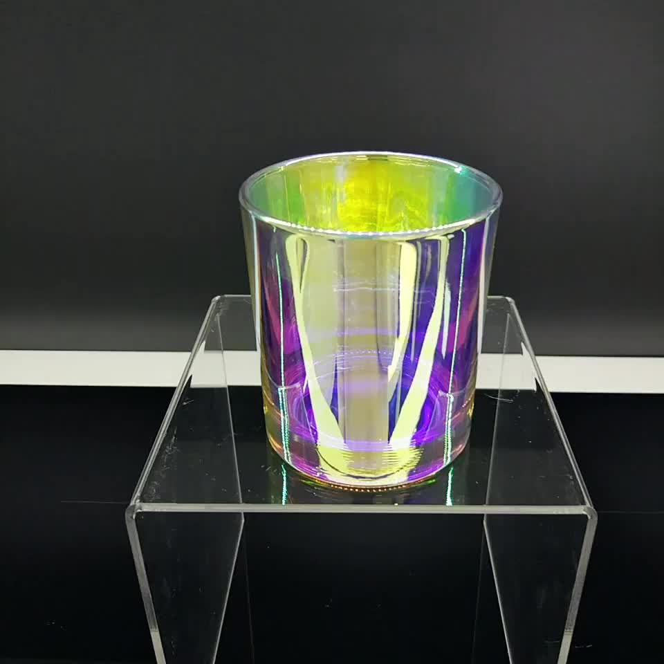 holographic glass candle jar 8 oz, cylinder candle holders