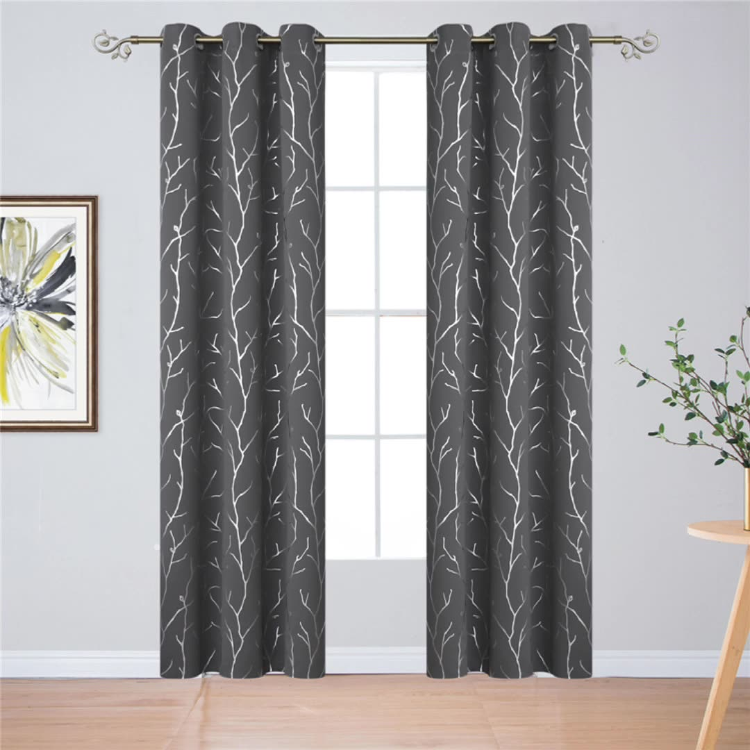 Zhonghua Elegant Branches Foil Print Blackout Curtains Noise Reducing For Living Room Bedroom 52''*84''