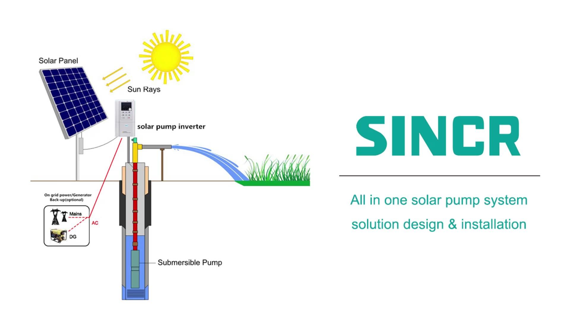 1hp ~ 300hp güneş dalgıç derin kuyu suyu pompası yüksek kafa ve yüksek su akış kapasitesi