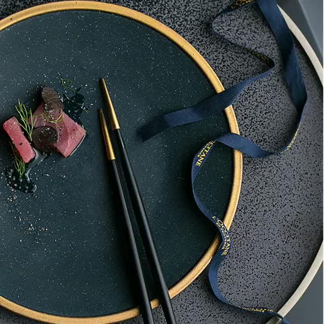 Nordic Gold Rim Black Ceramic restaurant flat Plate Steak Western Dish