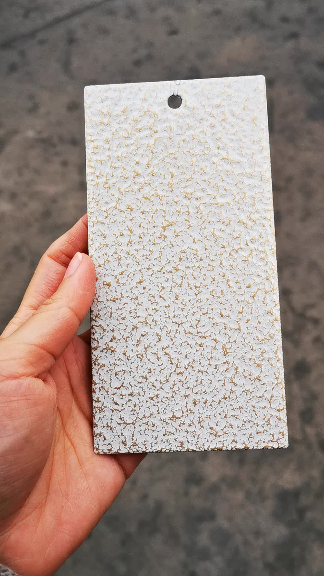 Epoxy polyester white antique gold hammer powder paint coating export to Qatar