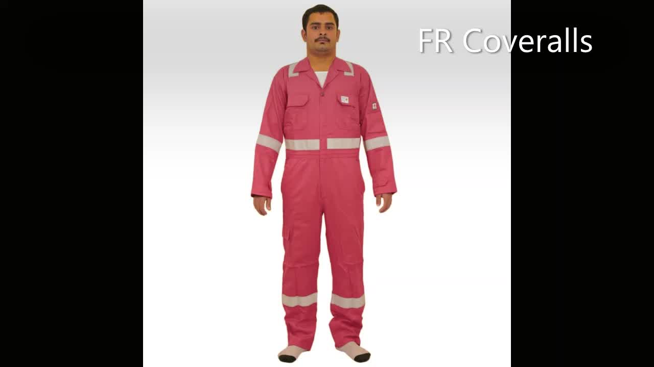 COVERALL, Flame Retardant With Reflective Tape, 300 GSM 100% Cotton, Pre Shrunk