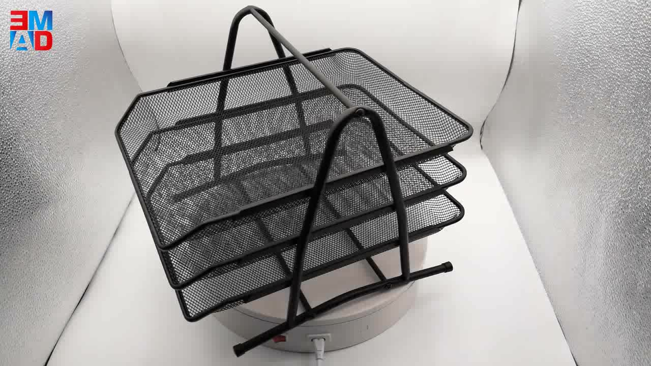 Modern design office metal wire mesh black foldable 3 layers document tray A4 paper tray desk file organizer