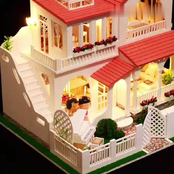 Amazon Top Seller Mini Doll House Miniature Room Wooden Puzzle Toy Diy Doll House