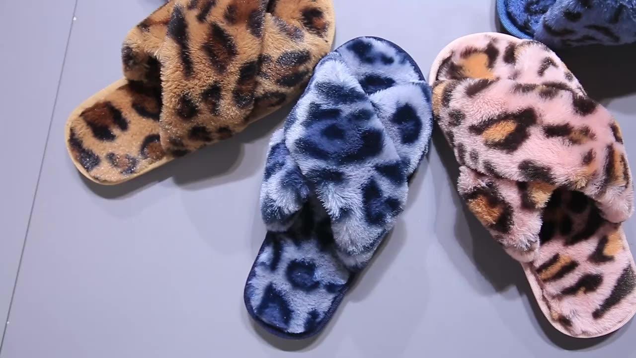 Nova estampa de leopardo chinelos sapatos mulheres em casa piso de madeira coberta de lã cruz moda chinelos de algodão de pelúcia