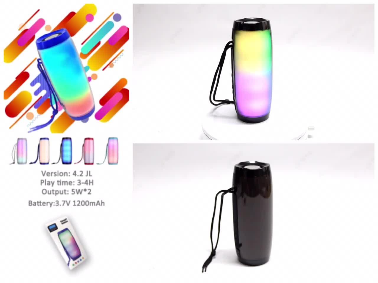 LED Portable Silinder dengan Pegangan Speaker Bluetooth Nirkabel dengan Lampu LED